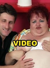 Margaret shows off her huge fat tits and lures a guy into fucking her mature pussy